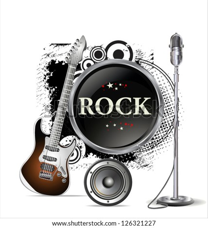 Rock music background - stock vector