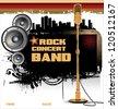 Rock music background - concert wallpaper - stock vector