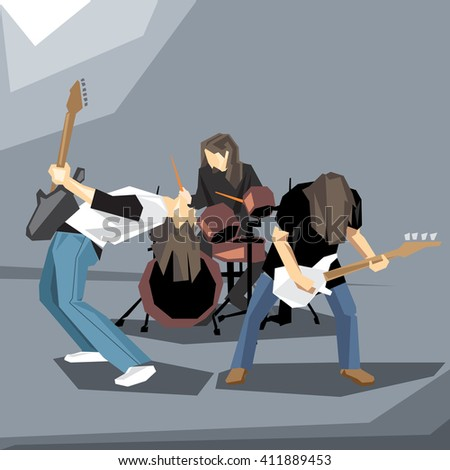 Rock music band performing on stage, with guitars and drums digital vector image - stock vector