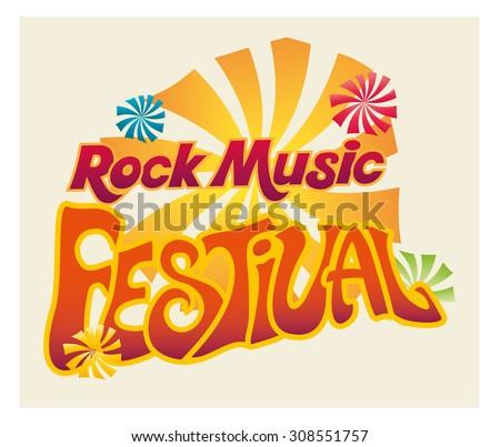 Rock Music Festival logo. Retro style vector design.  - stock vector