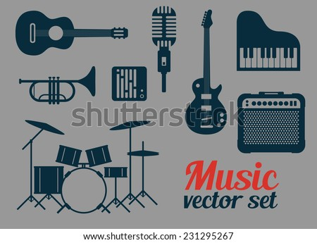 Rock music instruments icons set, vector illustration  - stock vector