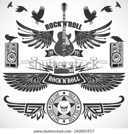 Rock n 'Roll set of symbols with wings - stock vector