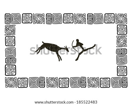 Rock paintings, sketch frame for your design - stock vector