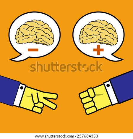 Rock, paper and scissors with positive brain. - stock vector