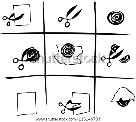 Rock-paper-scissors - stock vector
