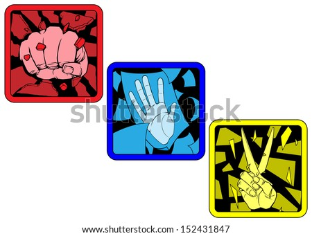 Rock Paper Scissors - stock vector