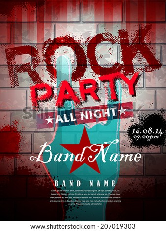 rock party all night poster template in red tone - stock vector