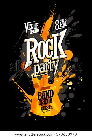 Rock party poster design with electro guitar made from blots - stock vector