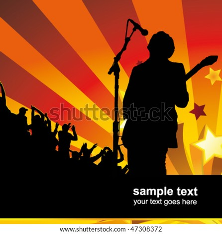 rock singer with a guitar singing to the crowd of fans - stock vector