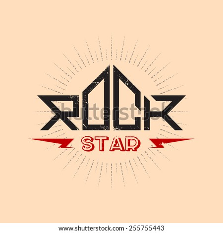 Rock Star - original lettering with lightnings and grunge effect, vector illustration. - stock vector