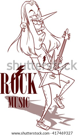 Rock Star With Electric Guitar illustration - stock vector