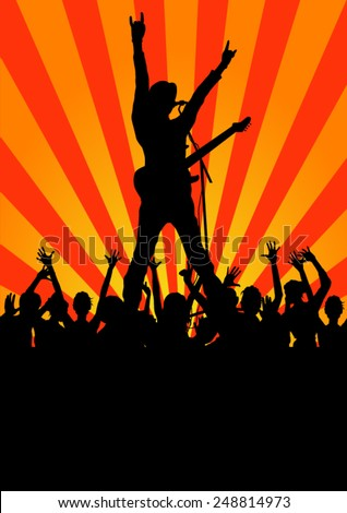 Rock star with guitar and fans silhouettes - stock vector