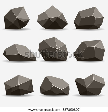 Rock stone isometric view set 3d, flat style different gray boulders with shadow - stock vector