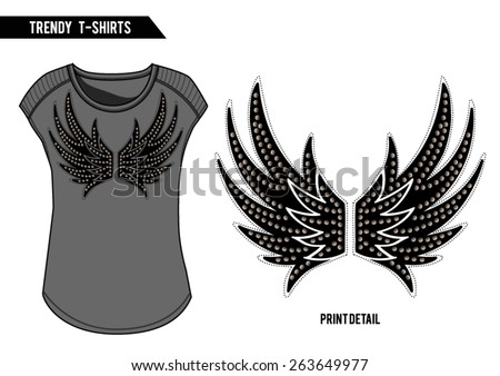 Rock t-shirt with wing print,embellishments and studs on it,in vector - stock vector