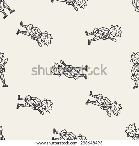 rocker doodle seamless pattern background - stock vector