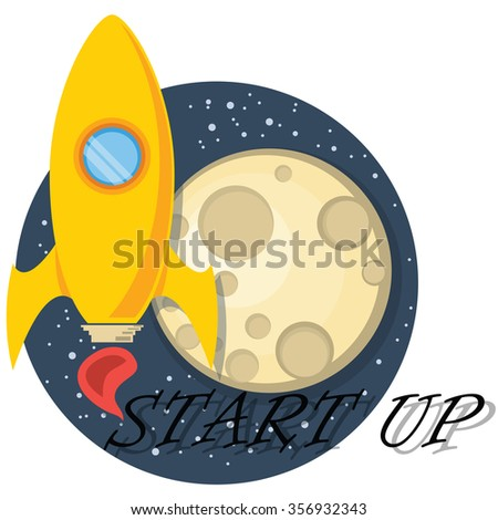 Rocket and moon - stock vector