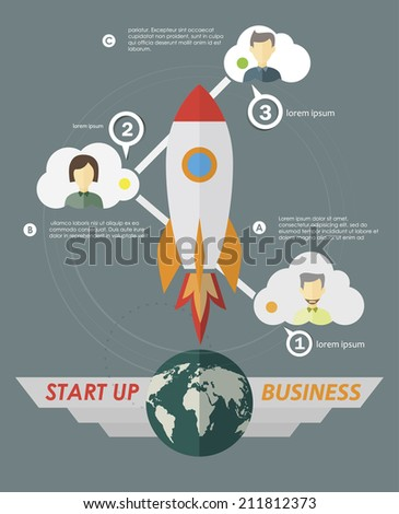 Rocket easy steps to start your business. Infographics template in flat style - stock vector