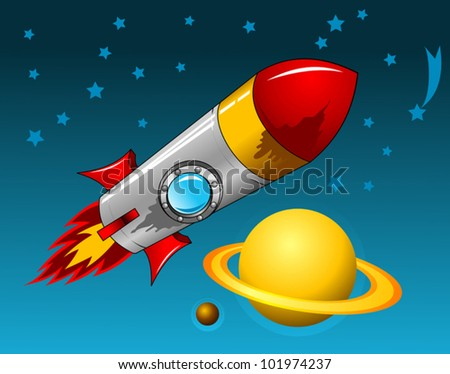 rocket flies through space to a distant planet; astronomy; - stock vector