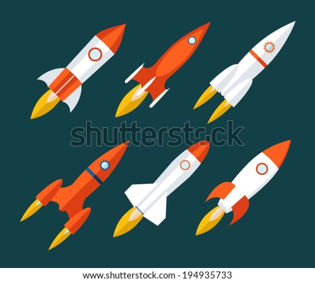 Rocket icons Start Up and Launch Symbol for New Businesses Innovation Development Trendy Modern Flat Design Icon Template Vector Illustration - stock vector