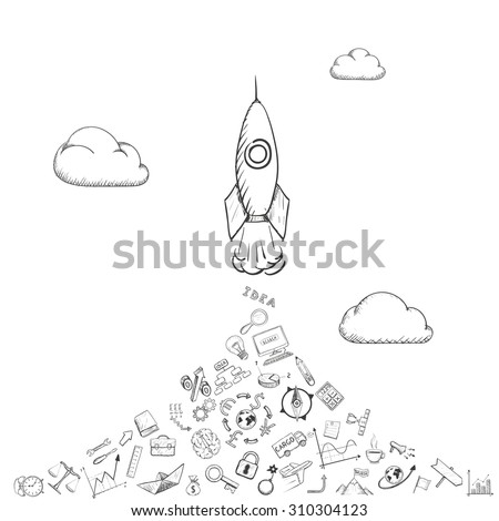 Rocket is flying in the clouds. Doodle image. Stock Vector illustration. - stock vector