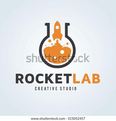 Rocket Lab,rocket logo,vector logo template. - stock vector