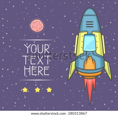 Rocket launch into space with stars and planet in background. copy space for your text. Vector Illustration. - stock vector