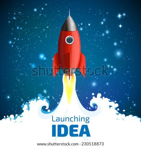 Rocket - launching idea - stock vector