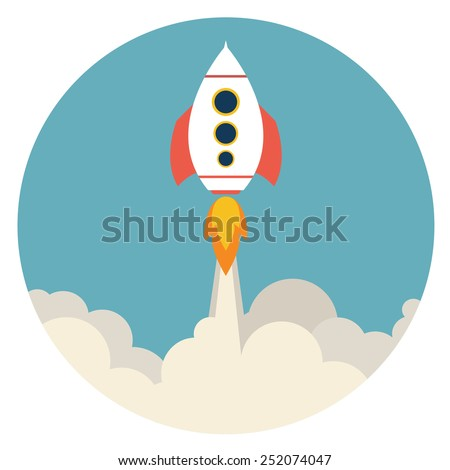 rocket launching over the hot air. concept. Vector illustration - stock vector
