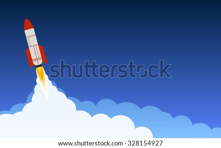 rocket,missile launch in flat icon design and dark blue sky background (vector) - stock vector