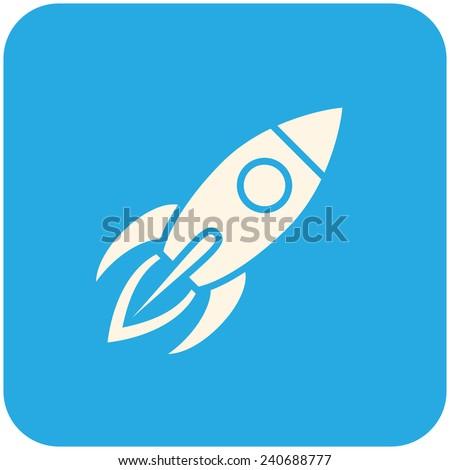 Rocket, modern flat icon - stock vector