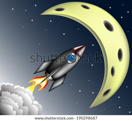 Rocket moon sky stars spaceship smoke cosmos orbit - stock vector