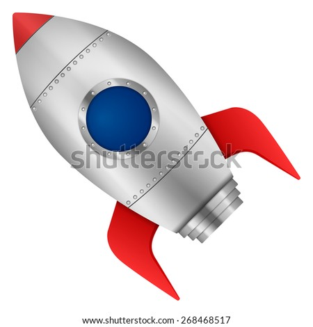 Rocket on a white background. Vector illustration. - stock vector