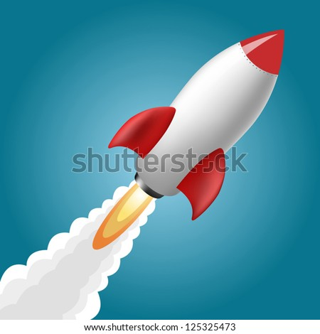 Rocket Space Ship, On Blue Background, Vector Illustration - stock vector