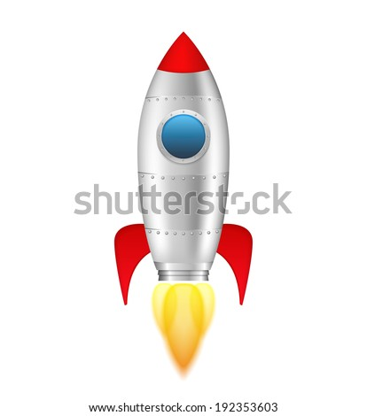 Rocket with flame on white background, vector eps10 illustration - stock vector