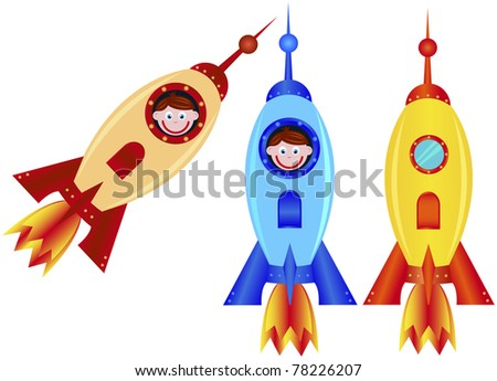 Rockets on a white background, vector illustration - stock vector