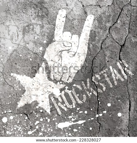 Rockstar symbol with sign of the horns gesture. Vector template with concrete texture. - stock vector