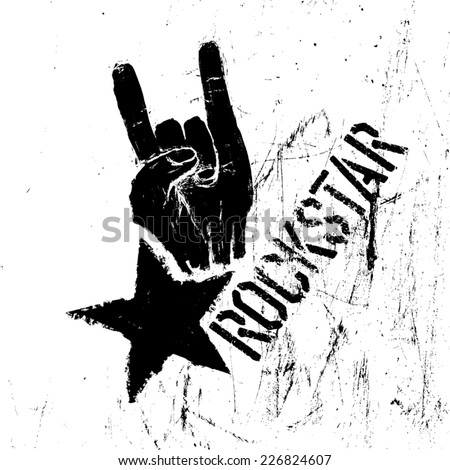 Rockstar symbol with sign of the horns gesture. Vector template with scratched texture. - stock vector