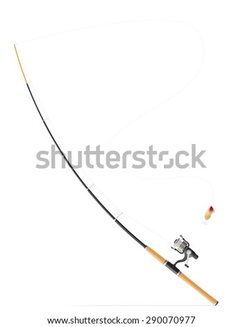 rod spinning for fishing vector illustration isolated on white background - stock vector