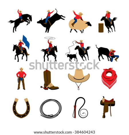Rodeo flat color icons with rodeo cowboys riding on bulls and bronco isolated vector illustration    - stock vector
