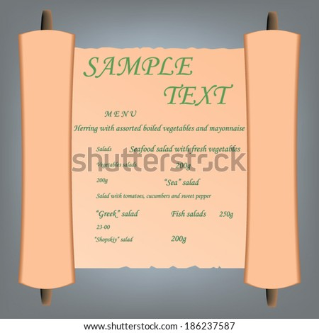 Roll of ancient paper with the text of the restaurant menu.  - stock vector
