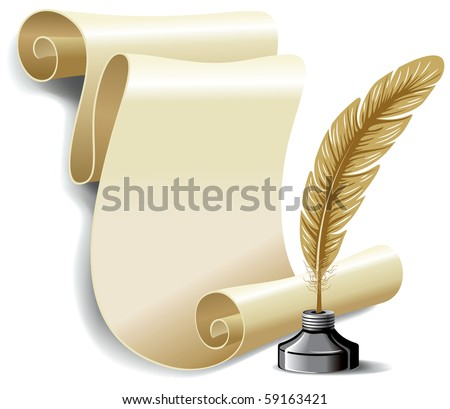 Roll of old paper and feather in the inkwell. Vector illustration, isolated on white background. - stock vector