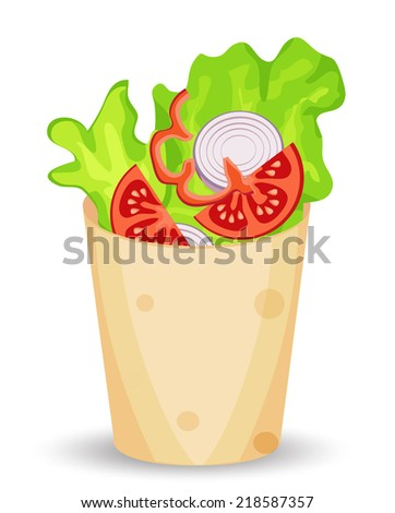 roll salad - stock vector