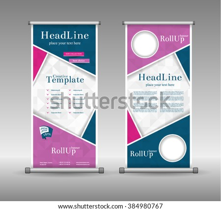 Roll Up Banner Abstract Geometric Colorful Design, Advertising Vector Background - stock vector