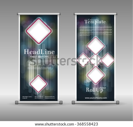 Roll Up Banner Abstract Geometric Design, Advertising Vector Background - stock vector