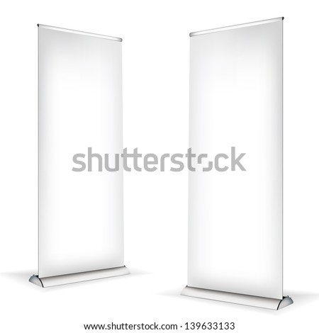 Roll up banner on white background - stock vector