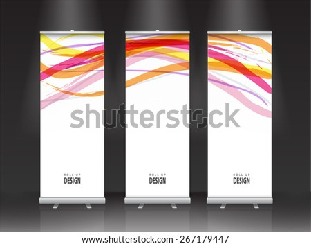 Roll up banner stand design. Vector multicolored lines - stock vector