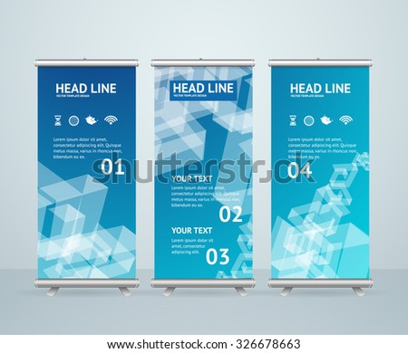 Roll Up Banner Stand Design with Abstract Blue Pattern. Vector illustration - stock vector