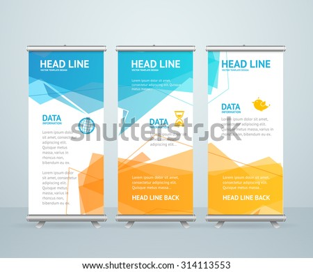 Roll Up Banner Stand Design with Abstract Geometric Colorful Bubble Speech. Vector illustration - stock vector