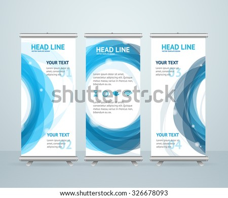 Roll Up Banner Stand Design with Abstract Ring. Vector illustration - stock vector