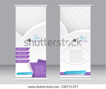 Roll up banner stand template. Abstract background for design,  business, education, advertisement.  Purple and blue color. Vector  illustration. - stock vector